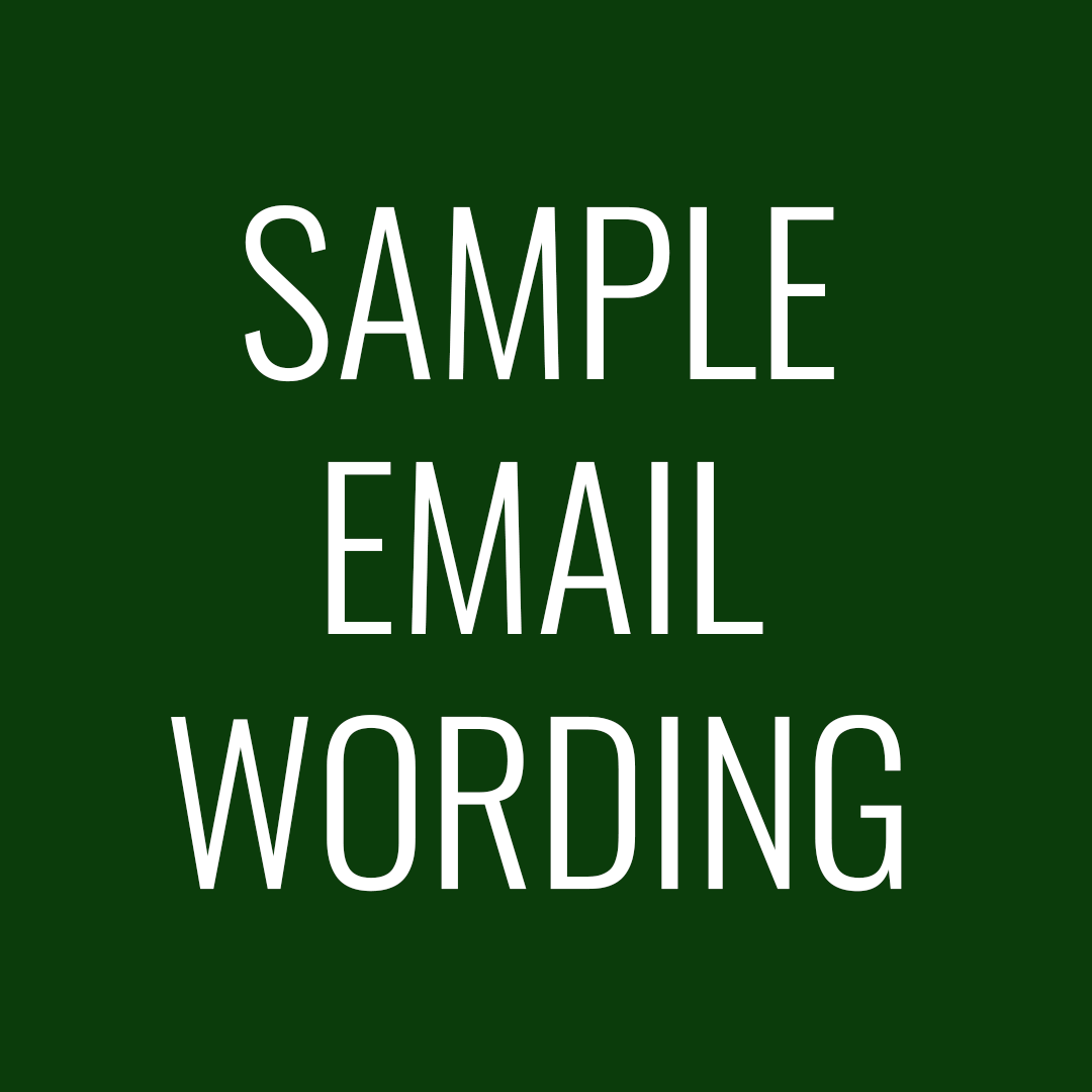 Sample Email Wording