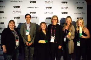 L-R: Lisa Day of 20th Century Fox, Mark Rabin of Portable Electric, Producer Grace Gilroy, Zena Harris and Kelsey Evans of Keep It Green Recycling and Producer Clara George, along with Zena Harris