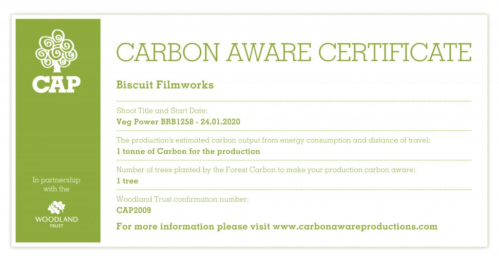 Our carbon offset certificate from CAP